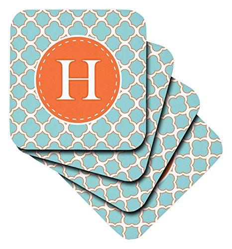 Janna salakpalme Designs Kollektion Monogram–Buchstabe H Monogramm orange und blau Vierpass-Muster–Untersetzer, keramik, Orange, set-of-4-Ceramic