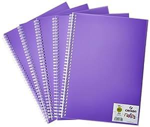 Canson 204127722 Carnet de notes/Dessin Spiralé 50 Pages A4 120 g Violet - Lot de 5