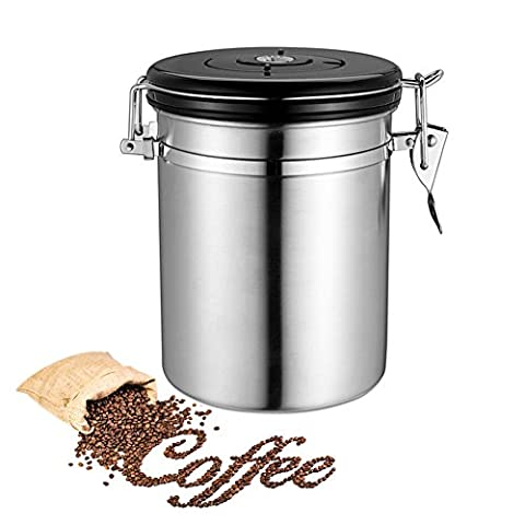 Coffee Canister Stainless Steel Storage Container for Coffee Beans/Tea/Herbs,1.8L Tin Airtight Latch Lid w/ Rubber Seal Vacuum