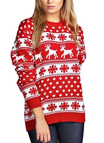 janisramone donne nuovo natale renna fiocco di neve novità a maglia unisex fairisle natale saltatore maglione cima