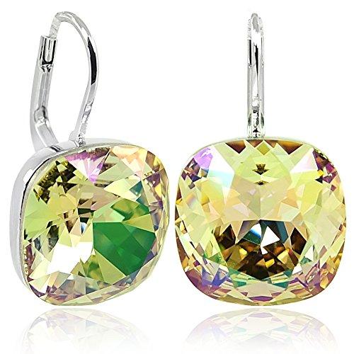 Ohrringe mit Kristalle von Swarovski Grün Gelb Silber NOBEL SCHMUCK