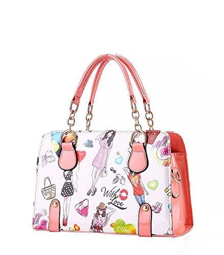 koson-man-damen-cartoon-pu-leder-vintage-tote-taschen-top-griff-handtasche-pink-rosarot-kmukhb041