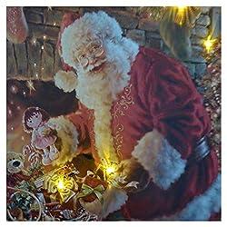 UK-Gardens Festliches Weihnachtsbild mit LED-Lichtern, batteriebetrieben, Timer, 40 x 30 cm, Leinwandoptik, Weihnachtsmann