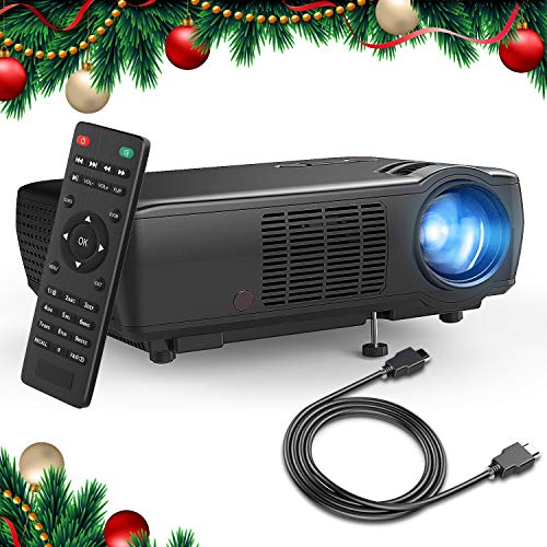 "Beamer, TENKER Heimkino Videoprojektor Multimedia Mini 5.0\"" LCD Beamer 2400 Lumen Full HD mit 176 Inch Display Unterstützt 1080p HDMI VGA AV USB für Outdoor & Indoor Movie Nights und Videospiele"
