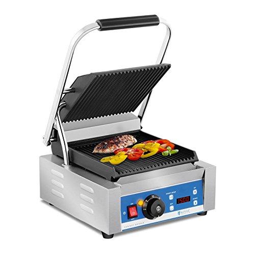 Royal catering tostiera piastra panini griglia elettrica (1800 w, 55–300 °c, rigata, timer 15 min, 36,2 x 31,3 x 20,1 cm, acciaio inox, ghisa smaltata)