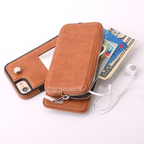 Reißverschluss-geldbörsen Zwei (GHC Cases & Covers, Für iPhone 6 & 6s Abnehmbare Rotation TPU + Leder Schutzhülle mit Reißverschluss Geldbörse Tasche ( Color : Brown ))