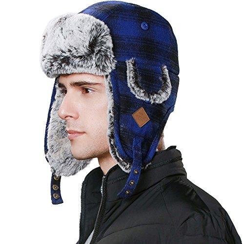 Trapper Hat Aviator Earflap Hat Faux Fur Warm Winter Hat for Women Men  Pilot Russian Ushanka 53df292141af