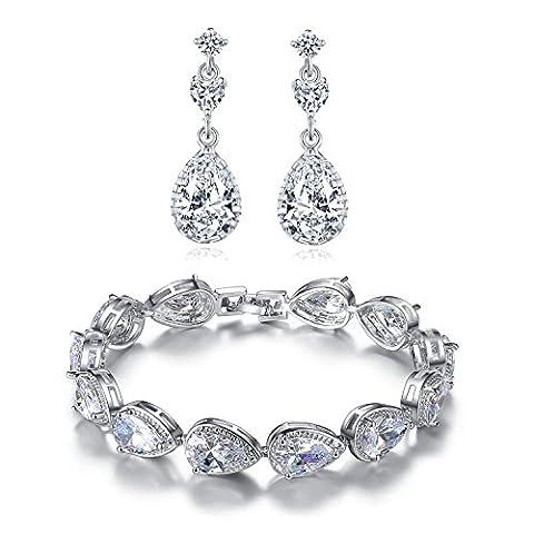 MASOP Weiß Schmuckset Armband mit Ohrringe Ohrhänger Armkette Tropfen Zirkonia CZ Bling Hochzeitsschmuck für Braut