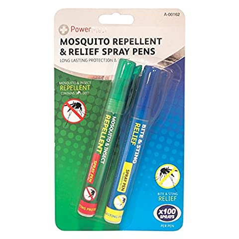 2 x Mosquito Repellent & Relief Pens Spray Deet Insect Travel Tropical Sting Pen.