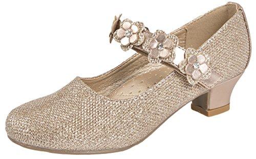 Party-Schuhe für Mädchen, Mary Jane-Schuhe, mit Glitzersteinen, niedriger Absatz, für Brautjungfern, Gold - Rose Gold - Flower Strap - Größe: 33 EU (Gurt Knöchel Leder Keile)