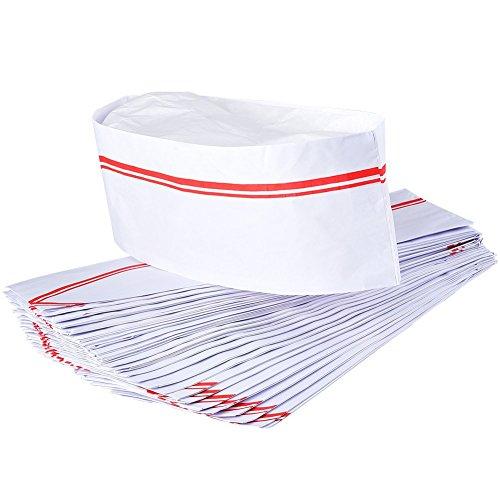 IRICH 40 Stück Weiß Papier Kochmütze, Chef Hat -
