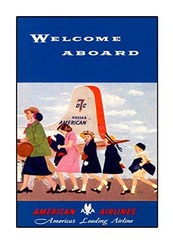 American Airlines, A4 Poster, Vintage, Foto, Old Airways, Airways Foto, Grafikbild, Bild, Airline, Reisen, Schwarz und Weiß, Foto, Old, Retro, Druck, Oldschool - Airlines United Poster