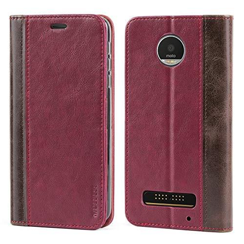 Mulbess (Book Style) Premium Handy Schutzhülle Ledertasche im Kartenfach für Motorola Lenovo Moto Z Play Tasche Hülle Leder Etui Schale,Weinrot