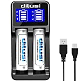 Dilusi P2 Intellicharger 18650 Caricabatterie 2 Slot intelligente per batterie agli ioni di litio e NiMH for 18650,18350,16340(RCR123),AA,AAA,C,etc,rechargeable batteries +2* Batteria 3000mAh