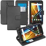 Orzly® - Etui Multifonctions pour MOTO G4 & MOTO G4 PLUS SmartPhone (2016 Lenovo / Motorola Modèle) - Emballage Premium - Housse Format Portefeuille (Wallet Case) avec Support Intégré - NOIR