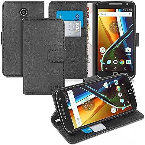 Orzly® - Multi-Functional Wallet Stand Case para MOTO G4 & MOTO G4 PLUS SmartPhone (2016 Lenovo / Motorola Modelo Teléfono Móvil) - FUNDA con PORTFOLIO más SOPORTE INTEGRADO y Tapa magnética - NEGRO