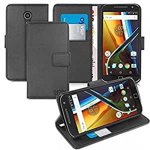 Orzly® - Multi-Function Wallet Case for MOTO G4 & MOTO G4 PLUS SmartPhone (2016 Lenovo / Motorola Model) - BLACK Wallet Case Style Phone Cover with Card Pockets & Integrated Display Stand