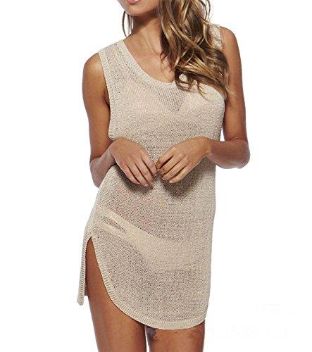 GenialES Paréo Femme Cotton Crochet Robe de Plage Bikini Cover Up Chemise Maillot de Bain Abricot