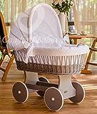ComfortBaby ® Snuggly Baby Stubenwagen - komplette 'all inclusive' Ausstattung - Zertifiziert & Sicher (Grau - Weiß)