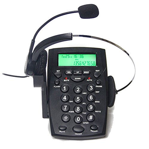 telpal mit Call Center Headset Telefon mit Wähltasten & MONORAL Noise Cancelling Kopfhörer ha0021, verkabelt Analog Home & officetelephone Set Festnetz
