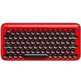 SSSLG Chiave Rotonda Wireless Bluetooth Tastiera Meccanica, Tastiera retrò Macchina da Scrivere Vintage, cablata e Wireless Due modalità, Compatibile con Windows, Android, Mac, iOS,Red