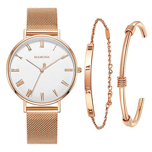 MAMONA Frauen Mesh Rosa Gold Armbanduhr mit weißem Zifferblatt Armbanduhr Geschenk-Set L3892RGGT