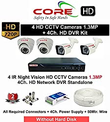 CORE HD 4 CCTV Cameras with Night Vision (1.3MP) with HD 4Ch. DVR Kit (With All Accessories)