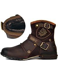 Botas Para Moto Botines Hombre Invierno Zapatos Nieve Piel Forradas Calientes Planas Combate Militares Martin Boots OZ-5008-1