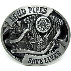 Choppershop Loud Pipes Save Lives V-Twin Motor de Motocicleta Metal Hebilla de cinturón