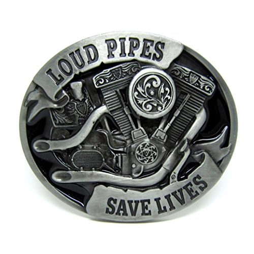 Choppershop Loud Pipes Save Lives-Motorrad Motor Metall Gürtelschnalle - Schnalle Honda Gürtel