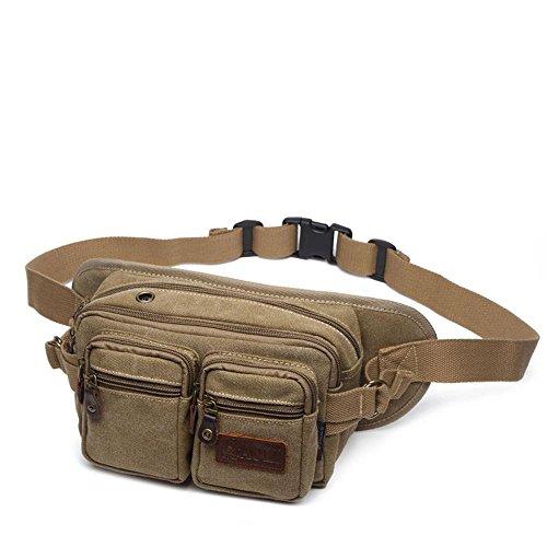 BUSL Escursione Fanny Pack di telefono borsa sportiva tasche tela utenti multifunzionali registratore di cassa degli uomini della signora tasche esterne in sella kit alpinismo . deep khaki deep khaki