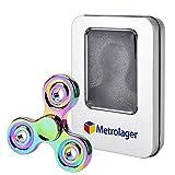 MetroLager Finger Spinner, mehrfarbig Fidget Spielzeug Hand Spinner Toy,100% Messing /Stahl Kugellager-- Hochgeschwindigkeit 3-5 Minute Spins --Hochwertiges Beständiges Metall-- Stresslöser Stress reduzierer Angstzustand ADD ADHS Konzentration Faulenzen Zeitvertreib Kleine Runde -