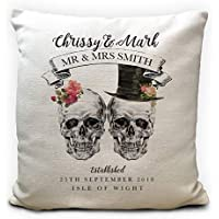 Personalised Gothic Wedding Anniversary Gift Skulls Cushion Cover 40cm 16 inches