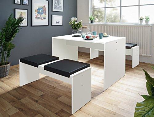 Tischgruppe Potsdam Esstisch 2x Bank weiß 4x Kissen schwarz ...
