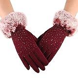 TUDUZ Touchscreen Handschuhe Damen Winter Dicke Warme Handschuhe Kaschmir Drinnen Draußen Radfahrenhandschuhe, Motorradfahrenhandschuhe