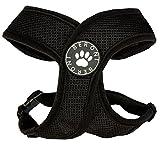 Softgeschirr Hundegeschirr Brustgeschirr XCross weich gepolstert verstellbar für kleine Hunde bis Mops schwarz Mesh NEU! (M: (Brustumfang 40-51 cm))