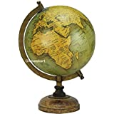 Globeskart Educational/Antique Globe With Brass Antique Arc And Wooden Base / World Globe / Home Decor / Office Decor / Gift Item / 8 Inches (Olive Green Gold)