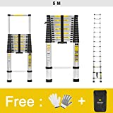 Finether 5M Aluminium Telescopic/Telescoping Loft Extension Ladder