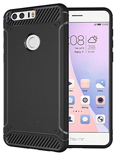 TUDIA [TAMM] Kohlefaser TPU Schutzhülle Ultra Slim Hülle für Huawei Honor 8 (Schwarz)