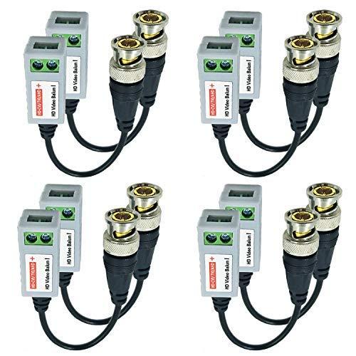 Arayker BNC Video Balun Transceiver CCTV Video Balun Connector Transmitter kompatibel mit HD-CVI/TVI/AHD Videosignalen, männlich BNC zu UTP CAT(5/5E/6), für Überwachungskamerasystem, 4 Paar Cat5-komponente