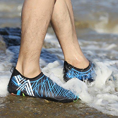 Leaproo Wasserschuhe Damen Herren Aquaschuhe Strandschuhe Surfschuhe mit Rutschfeste Sohlen Wassersport Schnorcheln Schwimmbad Yoga Beach Shoes Blau