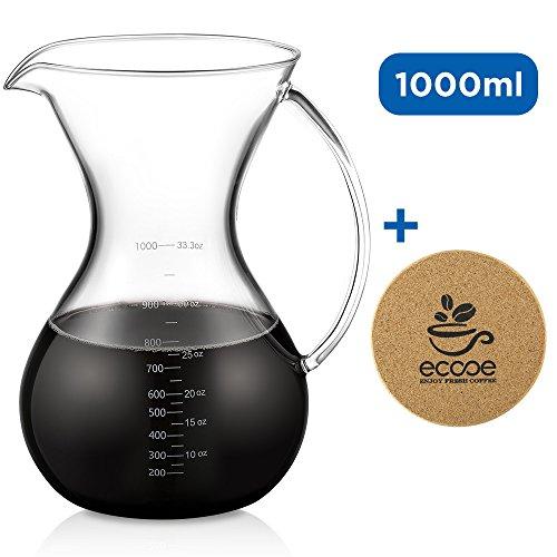 Ecooe 1000ml / 33.3oz Pour-Over Kaffeezubereiter\Glasrug\Karaffe zum Teilen mit Korkmatte und einer Reinigungsbürstezum Teilen
