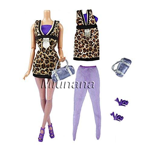 e3596d858 Miunana 1 Fashionista Traje de Vestido Leopardo Casual Vestir de Fiesta  Bolso Zapatos Calcetines Accesorios para