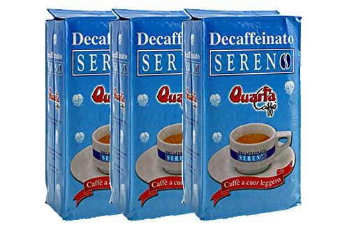 QUARTA Caffè SERENO DECAFFEINATO macinato 250 gr Aroma dolce e gradevole - 3 buste Fine blend of coffee processed in...