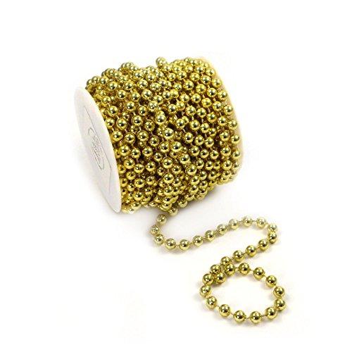 erlenkette Baumschmuck Weihnachsbaum Perlengirlande Perlenschnur Weihnachten Advent Hochzeit Deko Tischdeko Meterware 10 Meter Gold (S-P6-03-gold-10m) (0,90€/m) ()