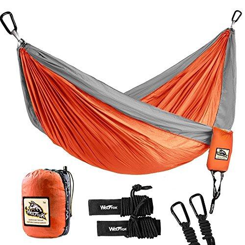 Wolfyok Doppel Personen Camping Hängematte, 330cm*200cm Multifunktionen Super Leicht Nylon Fallschirm Outdoor Reise Garten Hammock -