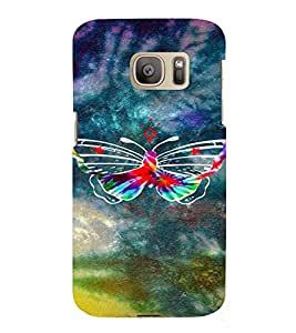 PrintVisa Colorful Butterfly 3D Hard Polycarbonate Designer Back Case Cover for Samsung Galaxy S7 Edge