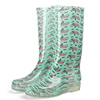 XIAYUT Rain Boots For Women,Fashion Simple Outdoor Green Unicorn Print Wear Resistant Slip Wellington Rubber Waterproof Rain Shoes Low Heeled Ladies