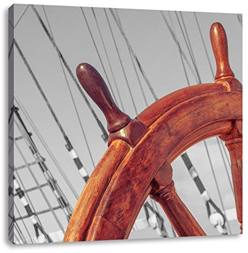 hölzernes Steuerrad auf einem Schiff schwarz/weiß, Format: 40x40 auf Leinwand, XXL riesige Bilder fertig gerahmt mit Keilrahmen, Kunstdruck auf Wandbild mit Rahmen, günstiger als Gemälde oder Ölbild, kein Poster oder Plakat