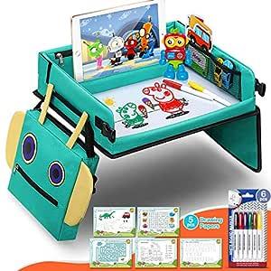 Fivejoy 2 In 1 Kinder Reisetisch Roboter Rucksack Knietablett Reisetisch Mit Ersichtlich Ipad Halterung Spieltisch Tisch Auto Bonus 5 Pädagogische Zeichenpapiere Geschenk Für 3 Jahre Kinder Baby
